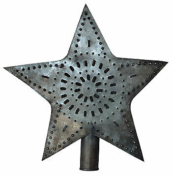 """Star Christmas Tree Topper Vintage Tin Punch Pattern Design Large 9½"""" T 8"""" W"""
