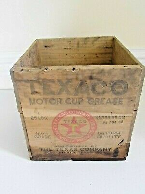 Vintage 1930's Texaco Motor Cup Grease Wooden Crate