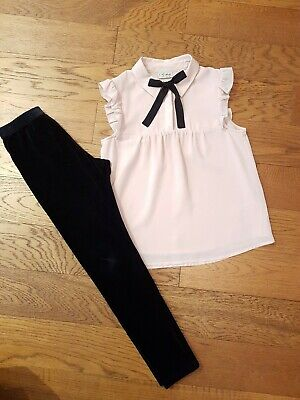 Girls Next Outfit - Blush Pink Top, Black Velvet Leggings - Age 9-10 - Lovely!!
