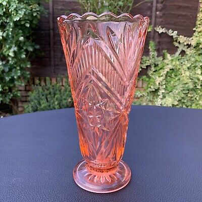 Art Deco German Art Glass Vase Marked FOREIGN Salmon Pink Posy Bud Vase 1930's