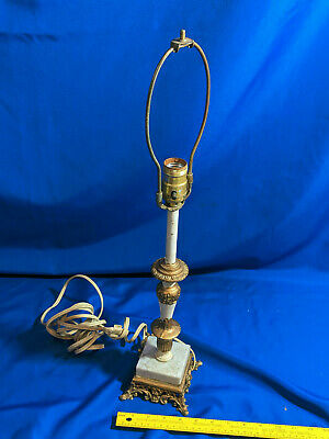 Antique Marble Base Gold White Cast Metal Lamp Repurpose Parts Hardware VTG
