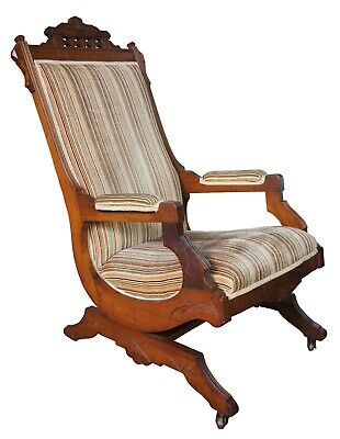 Strange Antique Eastlake Victorian Turned Walnut Blue Platform Short Links Chair Design For Home Short Linksinfo
