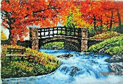 "Latch Hook Rug making Kit  ""AUTUMN PARK BRIDGE  Scenic rug by Herschners"