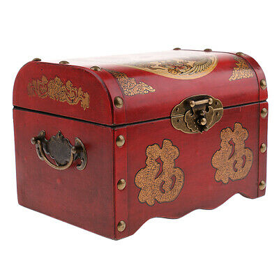 Chinese Retro Style Lock Box Jewelry Case Wooden Gifts Holder Case -Antique