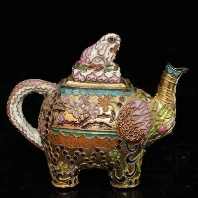 Decorated Old Handwork Tibet Silver Carve Flower Elephant Tea pot Collectible