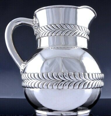 Large Tiffany & Co Art Deco Sterling Silver Wave Design Ice Water Jug Pitcher