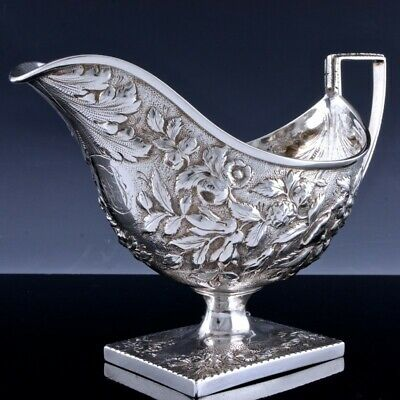 FULL SIZE c1880 S KIRK & SON AMERICAN REPOUSSE STERLING SILVER GRAVY SAUCE BOAT