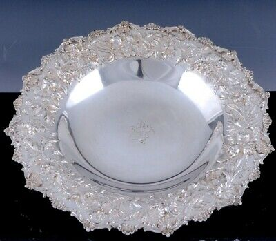 LARGEc1920 KIRK & SON FLORAL REPOUSSE STERLING SILVER ENTREE SERVING TRAY BOWL 2