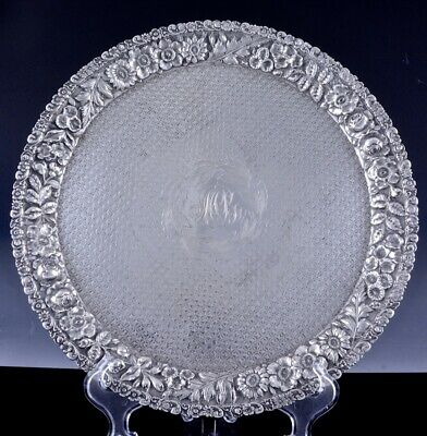 Large Ritter & Sullivan Baltimore Repousse Sterling Silver Serving Tray Dish