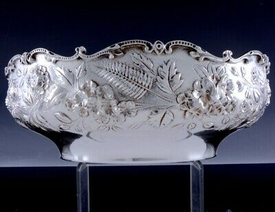 VERY FINE c1920 S KIRK & SON AMERICAN REPOUSSE FERN STERLING SILVER SERVING BOWL