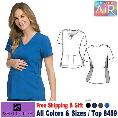 MED COUTURE Scrubs 4 WAY AIR TOUCH Maternity V-Neck Top 8459