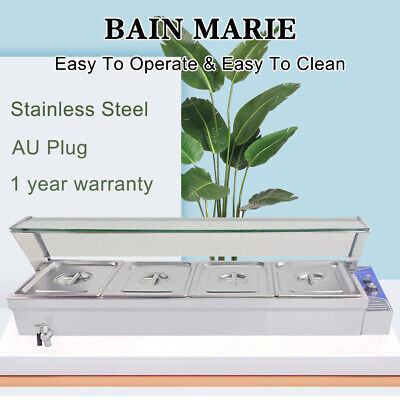 4 Pan Bain Marie Commercial Electric Stainless Steel Catering Food Warmer Trays