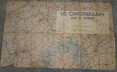 WWII Occupation US Military Constabulary Zone of Germany Color Map