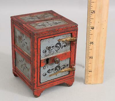 19thC Antique Victorian Period Red & Blue Painted Cast Iron Safe, Still Bank