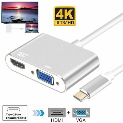 Type-c To HDMI VGA Male To Female 2 In 1 Converter For MacBook Pro PC Laptop