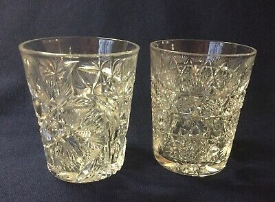 4 Antique ABP CUT GLASS Crystal American Brilliant Period Tumbler Glasses 3 3/4""