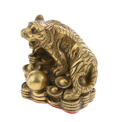 Chinese Zodiac Animal Statue Brass Figurine Ornaments for Table Shelf Tiger
