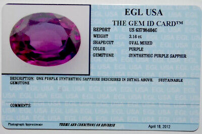 EGL USA Tested&certified Synthethic Ovale Assortiment Violet Saphir 3.16CT