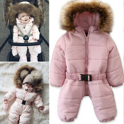Kids Baby Girls Warm Hooded Feather Down Jacket Jumpsuit Snowsuit Outwear Outfit