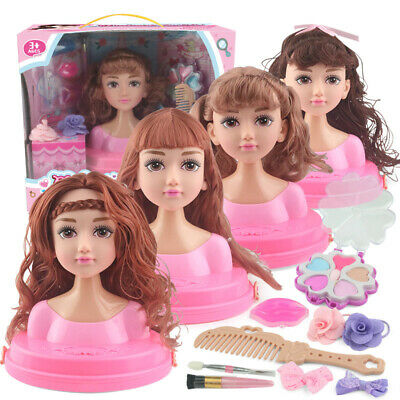 Girls Fashion Hair Styling Dolls Head Play Set Kids Childs Toy Beauty Girl Gift