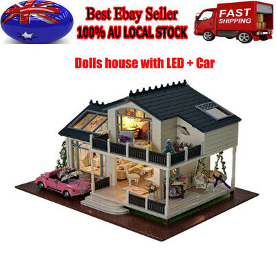 Wooden Toy Doll House Miniature Kit Caravan Dollhouse Music LED Lights Car DIY