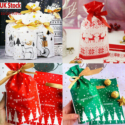 20 PC Large Drawstring Christmas Gift Bag Party Candy Bags Cookie Wrapping Pouch
