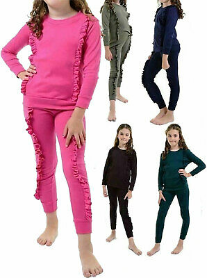 Girls Duel Frill 2 PC Loungewear Jogger Set Childrens Long Sleeve Tracksuit