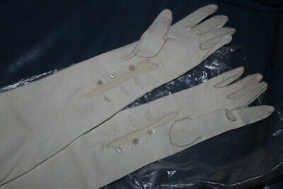 """Vintage 18"""" Elbow Long 3 Button Cream Kid Leather Evening Opera Gloves 7 1/4"""