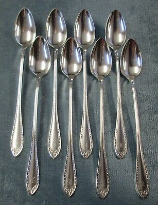SHERATON 8 Iced Tea Spoons 1910 Silverplate k Monograms