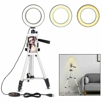LED Ring Light with Stand Photography Dimmable Video Lamp Camera Phone Holder UK