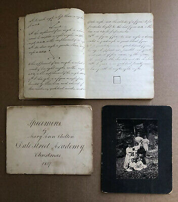 Orig 1837 Student Copy Book & Calligraphy Book. Math Problems. Mary Ann Chilton