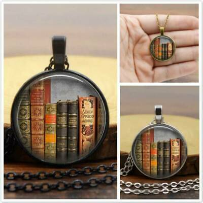 Retro Book Pocket Time Necklace Story Novelty Alloy Chain Gemstone Necklace CB