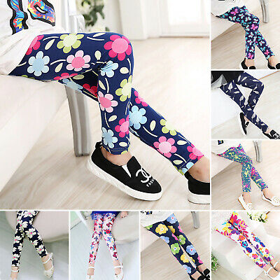 Girls Kids Childrens Trousers Floral Leggings Cotton Full Length Pants Age 4-12Y