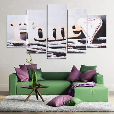 Unframed 5 Panels Wall Art Abstract Canvas Painting Print Poster Room Home Decor