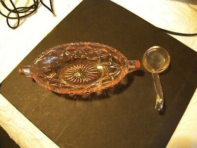 Pink Depression Glass Bowl With Spoon. Diamond Designdish/Handles,Zig Zag Edge.
