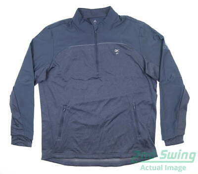 New W/ Logo Mens Adidas Go-To 1/4 Zip Golf Pullover X-Large XL Blue MSRP $99