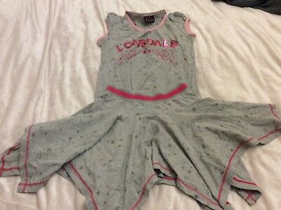 *Sporty Fun* Super Lonsdale Grey & Pink Star T Shirt And Skirt Outfit Age 9/10