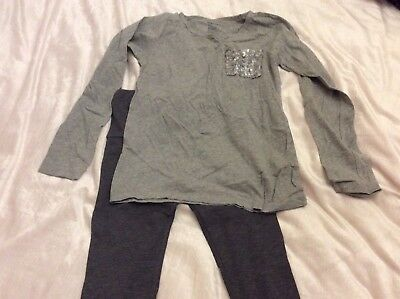 *Fab Outfit* Gap Grey Sequin Pocket Top & Leggings & White Velour Hoody Age 9/10