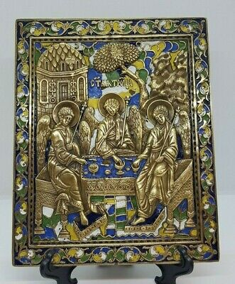Large Russia Orthodox bronze icon The Old Testament Trinity. Enameled!