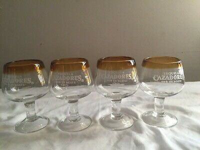 Set of 4 Tequila CAZADORES Hand Blown Amber Rim Stemmed Snifters Shot Glasses