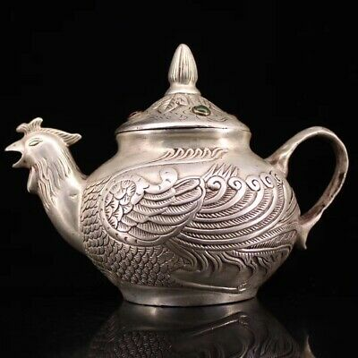 Collectable Handwork Decor Old Copper Carve Phoenix Inlay Agate Lucky Tea Pot