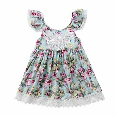 Sundress Pageant Wedding Floral Tulle Baby Girls Dress Sleeveless Flower Lace