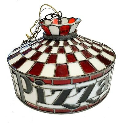 Vintage 70's Original PIZZA HUT Stained Glass style LARGE HANGING LIGHT FIXTURE