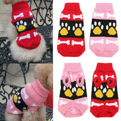 Dog Claw Knit Sweater Pet Winter Clothes Puppy Cat Coat Hoodie Costume Apparel