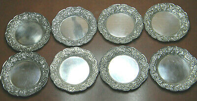 """8 Antique Sterling S Kirk & Sons 3 1/4"""" Butter Dish Repousse Plate TRAY 17F"""