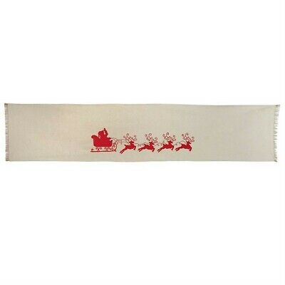 "Mud Pie Santa Claus Sleigh Reindeer Table Runner 90"" x 18"" Christmas Decor"
