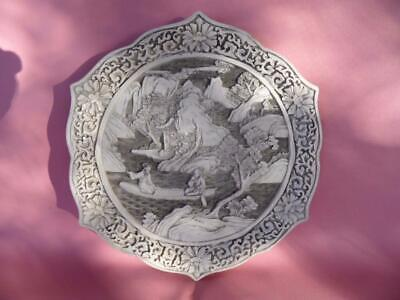 Vintage Retro Carved Resin Oriental Asian Chinese Display Plate