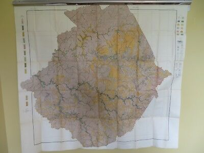 "1914 Antique Map West Virginia Wyoning & McDowell County Mullens 46 X 42"" #8853"