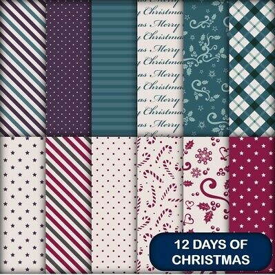 12 DAYS OF CHRISTMAS SCRAPBOOK / CRAFT PAPER - 12 x A4 pages.