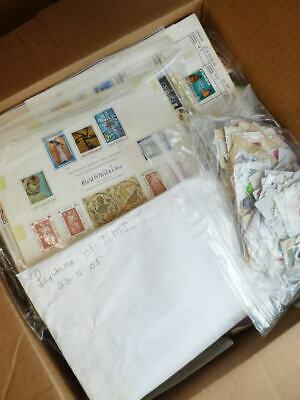 EDW1949SELL : WORLDWIDE Box full of Mint & Used stamps, some covers & album pgs.